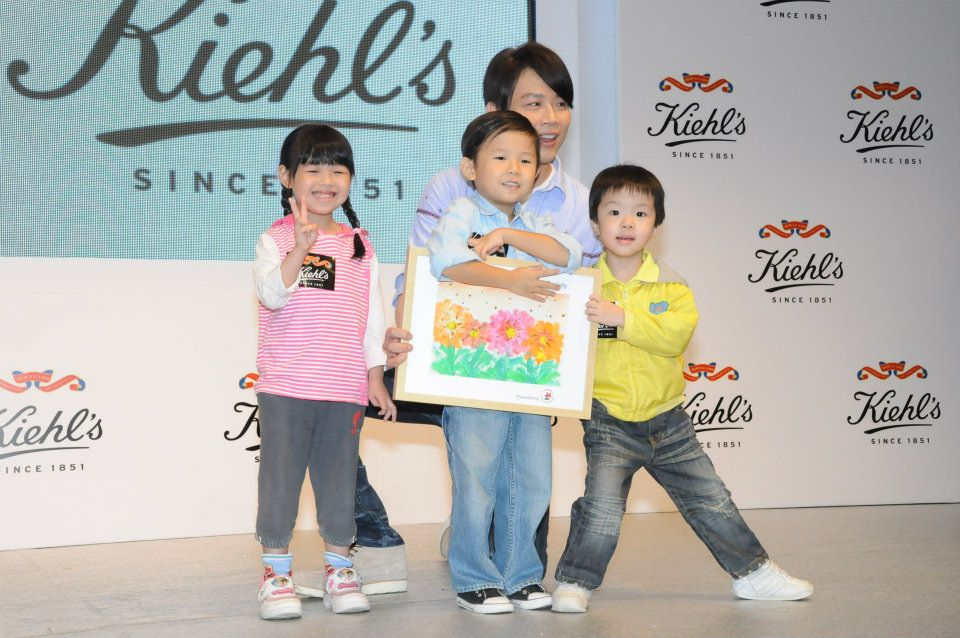 Heep Hong children & David Tao at a promotional event of Kiehl's