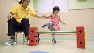 Case of three-year-old child: Lok Ching has difficulty in keeping balance.